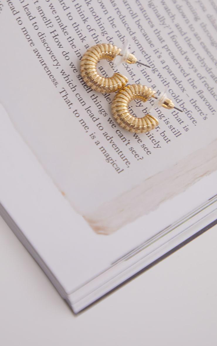 Mini créoles dorées striées 3
