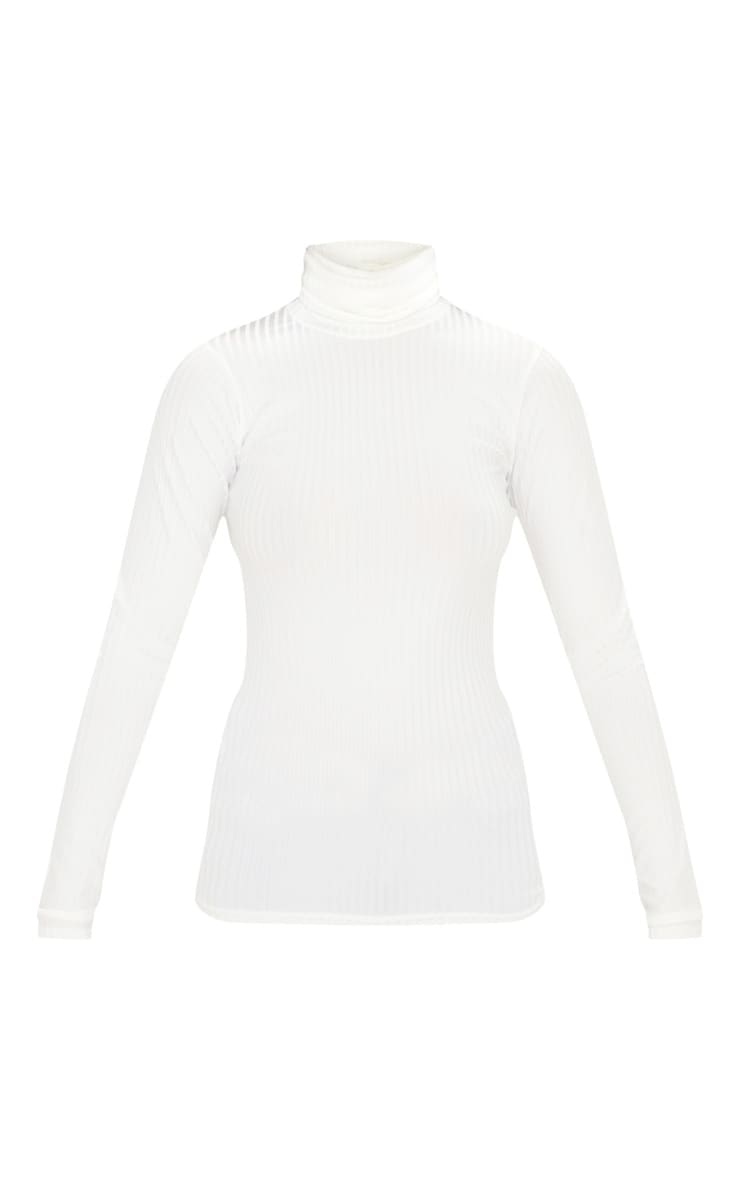 Rheta Cream Ribbed Polo Neck Top 4