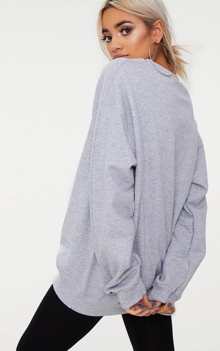 Grey Marl California Slogan Oversized Sweater  2