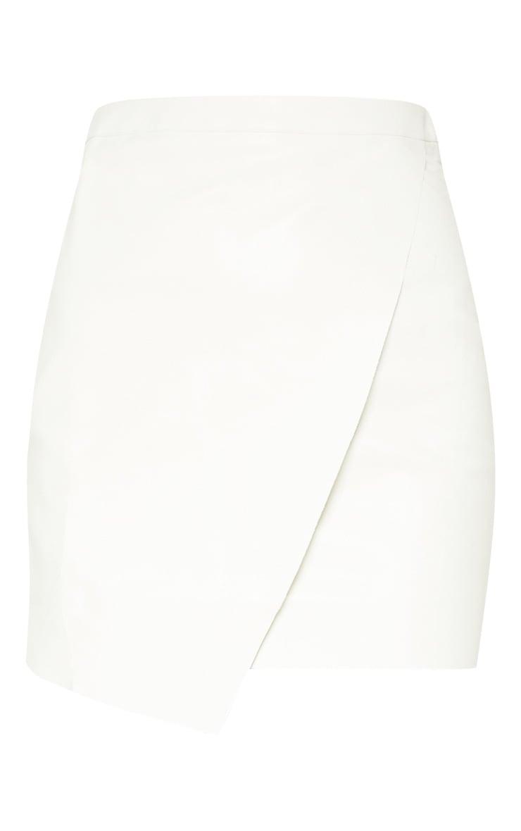 White Faux Leather Wrap Mini Skirt 3