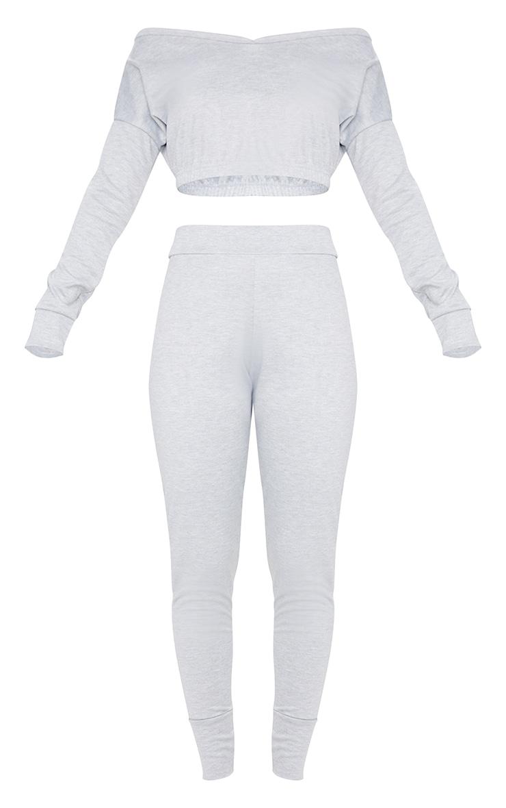 Grey Off The Shoulder Crop Sweater & Jogger Set 5