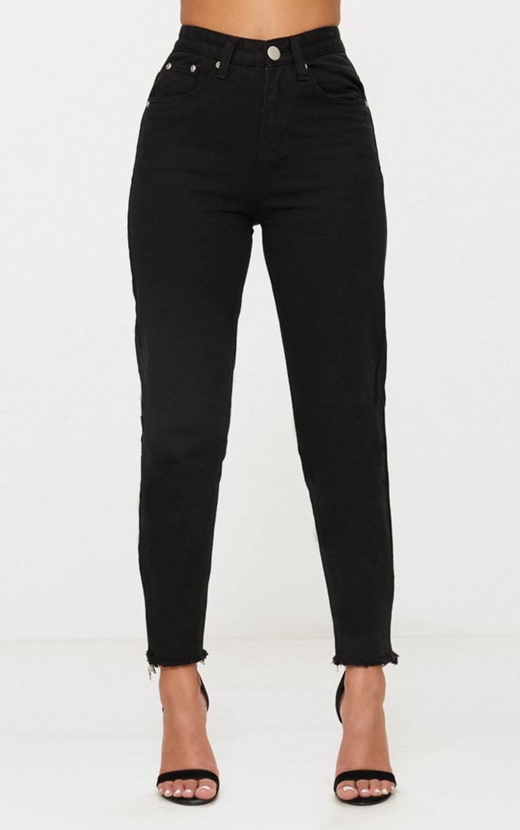 Petite Black Denim Raw Hem Straight Leg Jeans 5