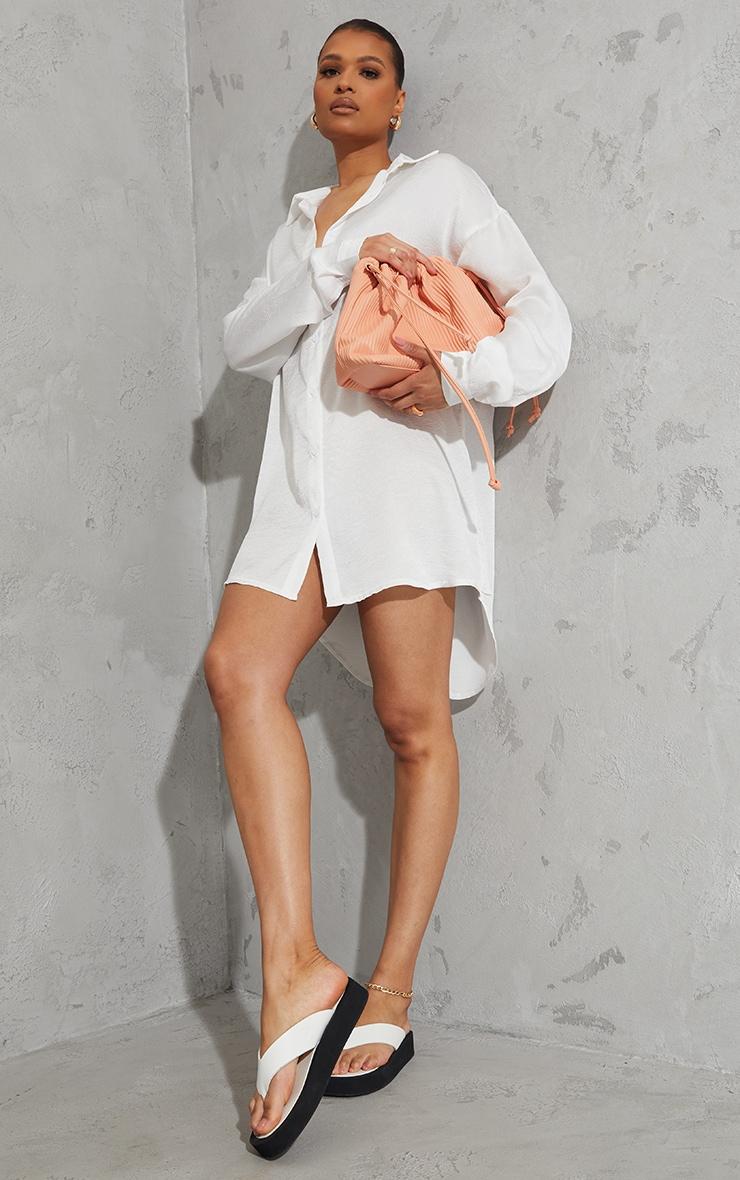 White Textured Twist Cut Out Back Drop Hem Shirt Dress 3