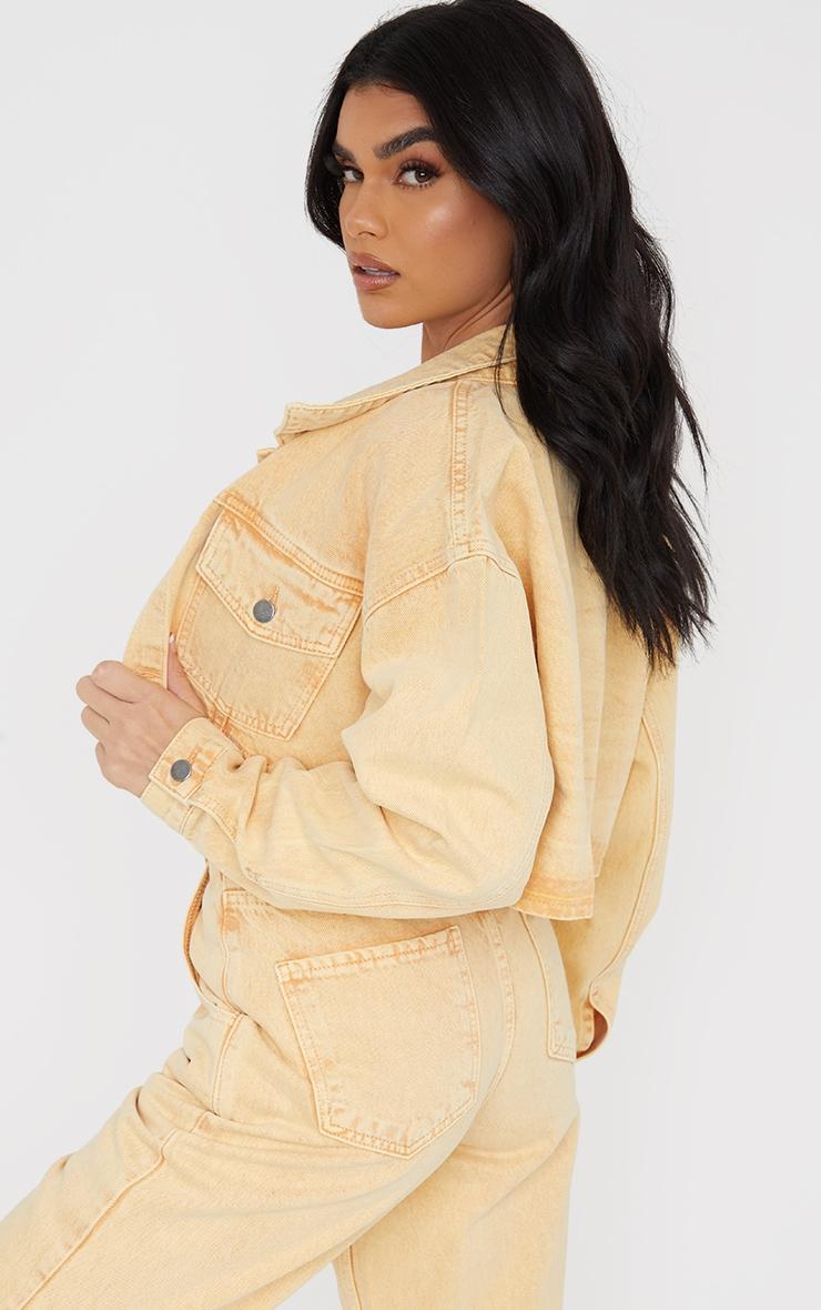 Yellow Washed Cropped Denim Jacket 2