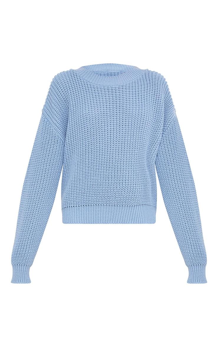 Cara Dusty Blue Cropped Knit Jumper 3