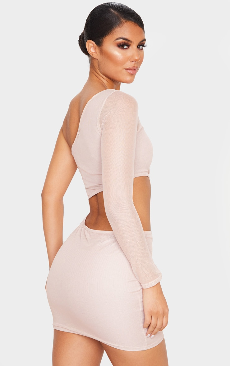 Rose Mesh Cut Out One Shoulder Bodycon Dress 2
