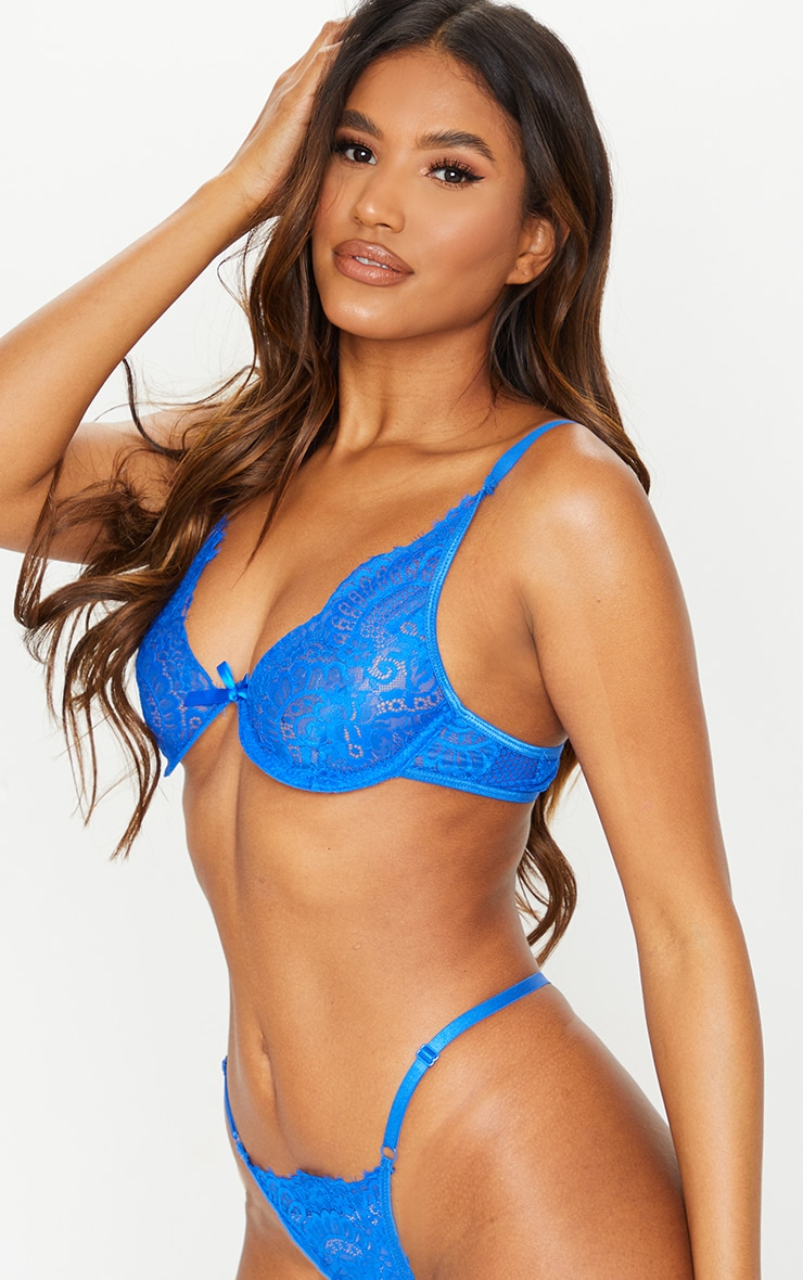 Cobalt Underwired Lace Cup Lingerie Set 4