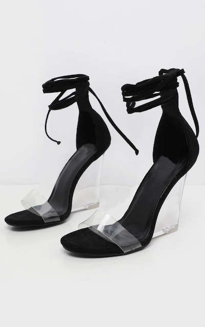 Black Ankle Tie Clear Wedge