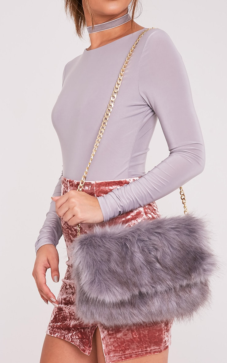 Kylah Grey Faux Fur Clutch Bag 1