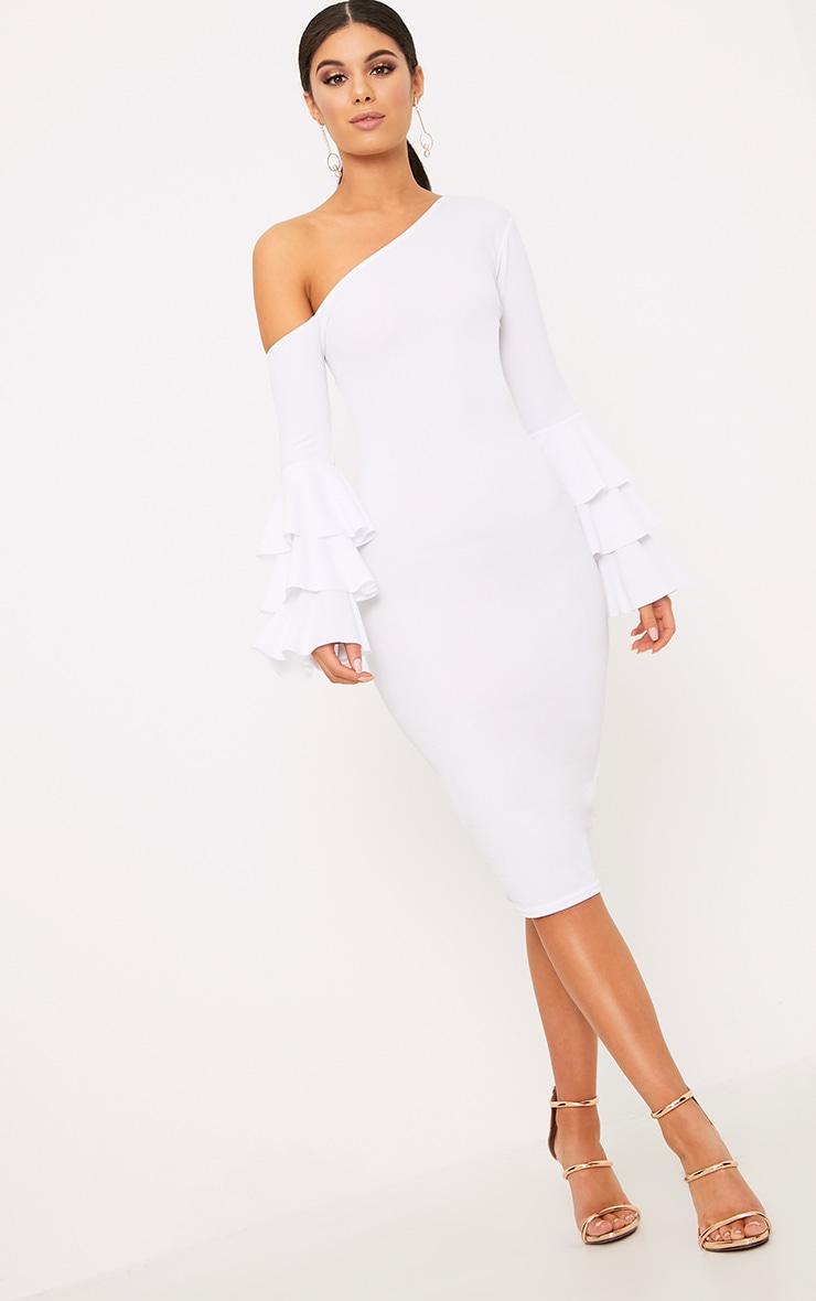 White Frill Sleeve Asymmetric Midi Dress 4