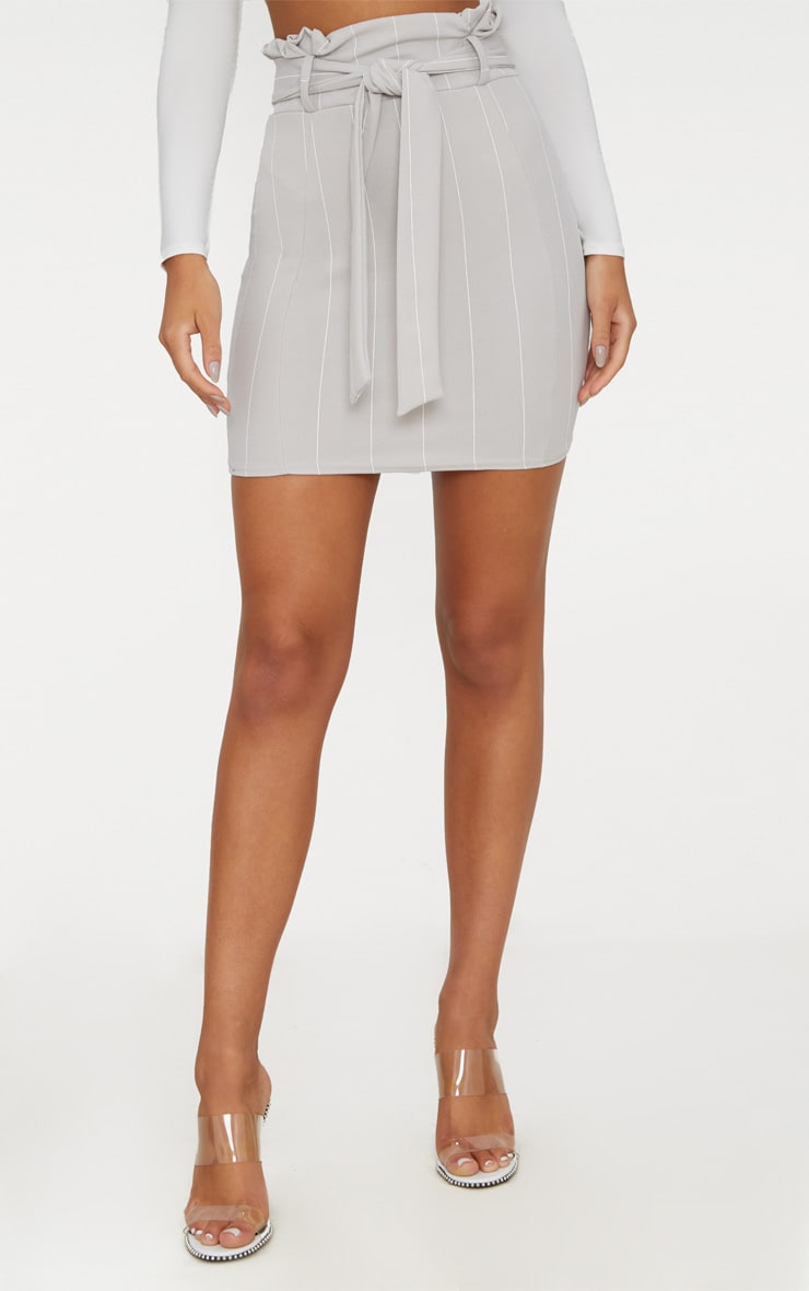 Grey Pinstripe Tie Waist Mini Skirt 2