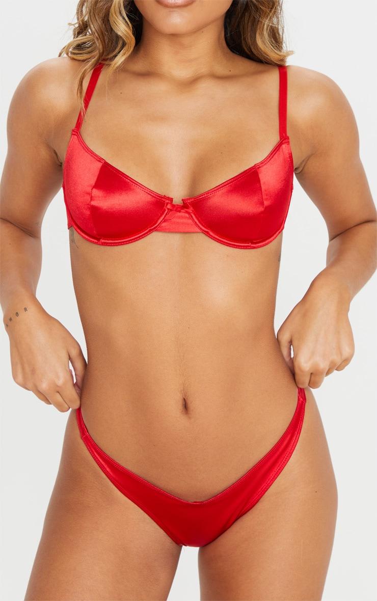 Red Satin Thong 6