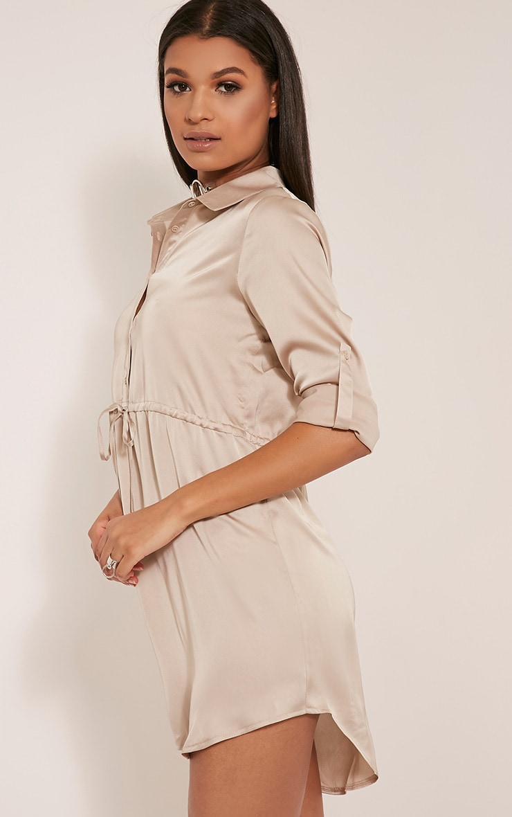 Amanda Champagne Tie Waist Satin Shirt Dress