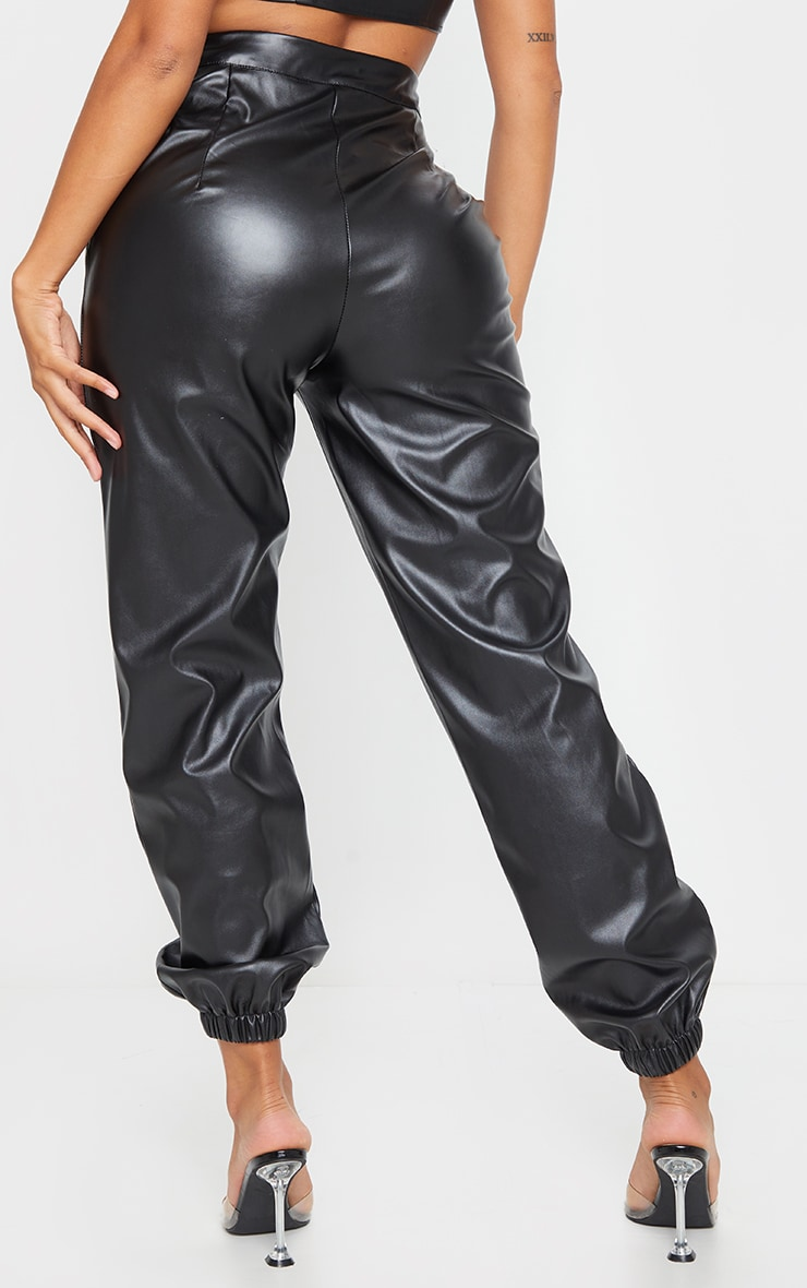 Shape Black Faux Leather Jogger 3