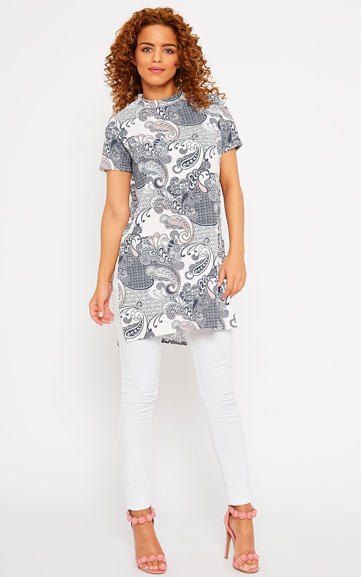 Milla Paisley Turtle Neck Side Split Drop Hem Top  3