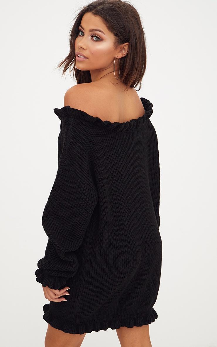 Black Bardot Knitted Jumper Dress 2