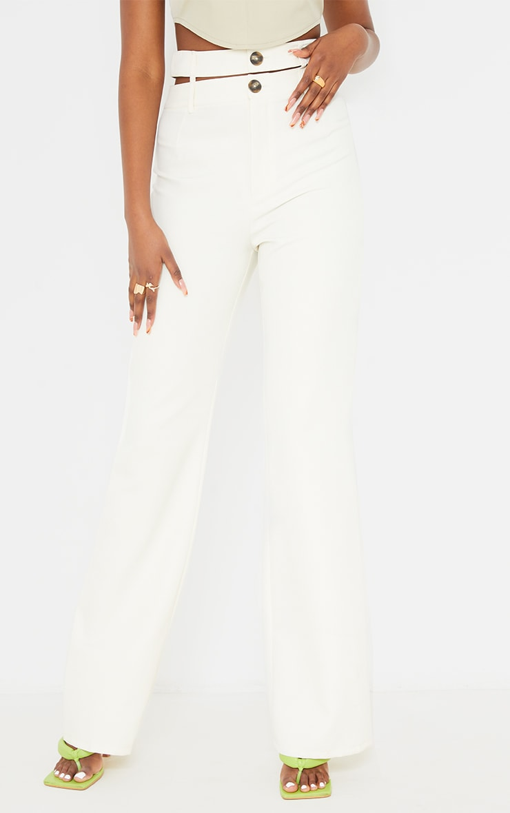 White Woven Double Waist Band Flared Trousers 2