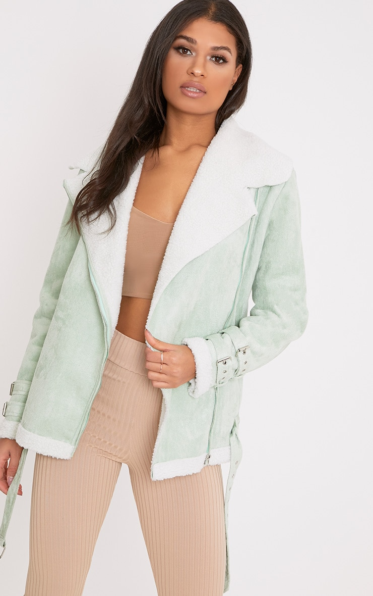 Emilia Sage Green Faux Suede Aviator Jacket 1