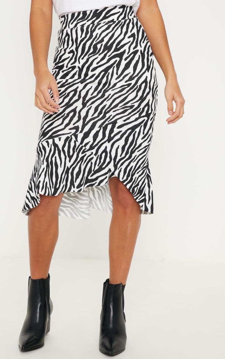 Petite White Zebra Print Ruffle Midi Skirt 2
