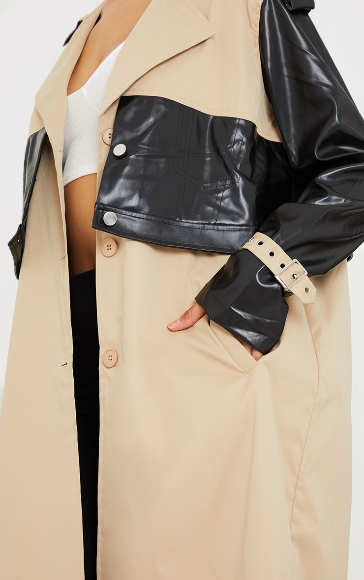 Stone PU Contrast Double Layer Trench 4