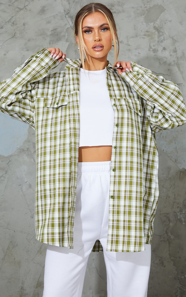 Khaki Woven Checked Pocket Detail Oversized Shirt 1