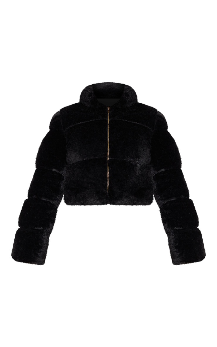 Black Faux Fur Puffer Jacket 3
