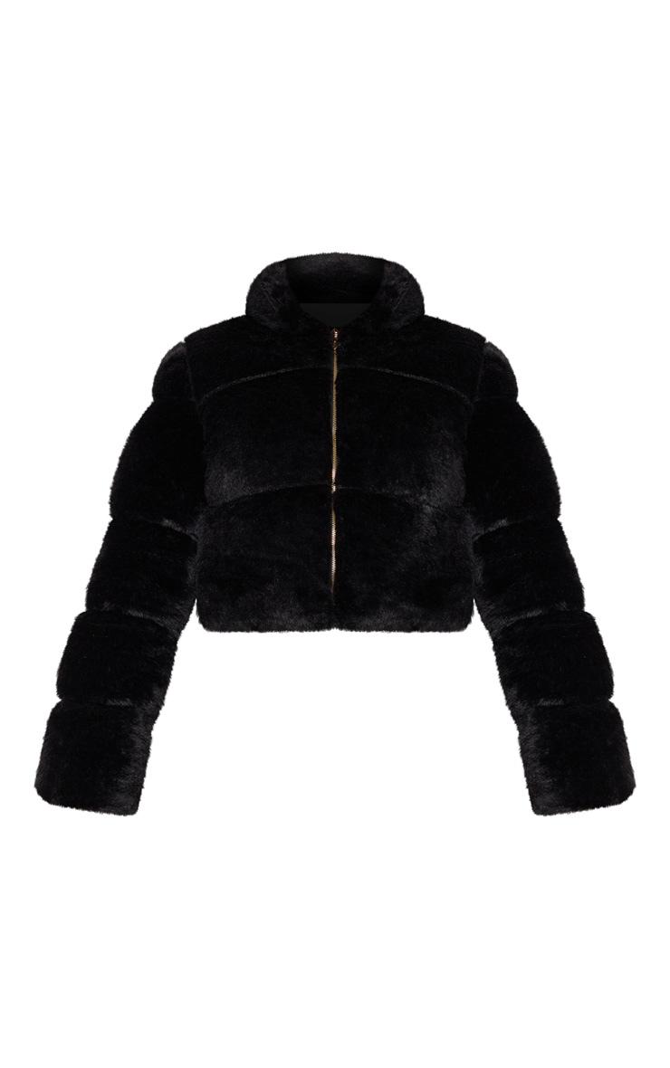 Black Faux Fur Puffer Jacket 4