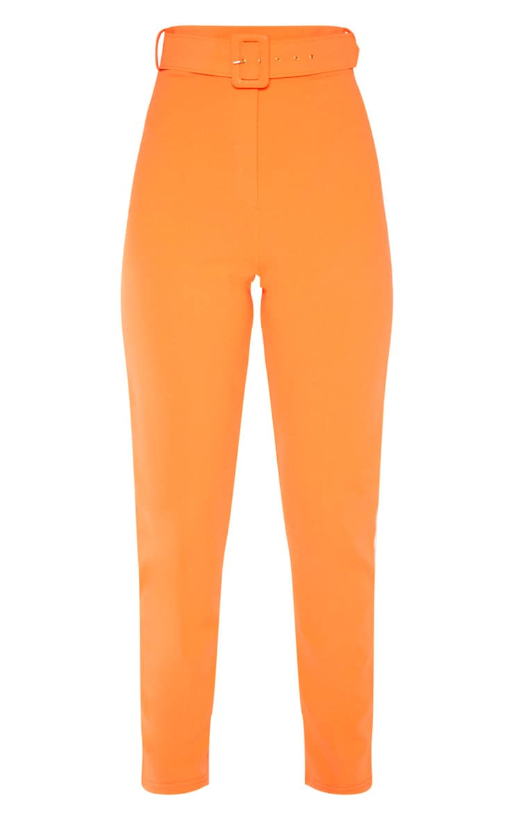 Tall Bright Orange High Waisted Belt Detail Trouser  3