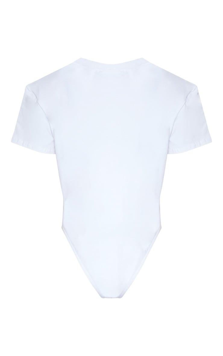 White Cotton Stretch T Shirt Thong Bodysuit 4
