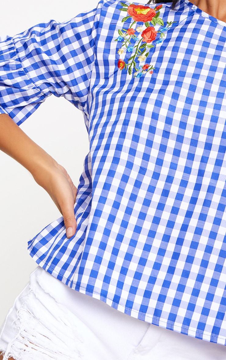 Blue Embroidered Gingham Top 5