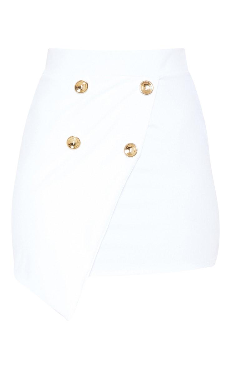 White Gold Button Wrap Over Mini Skirt  3
