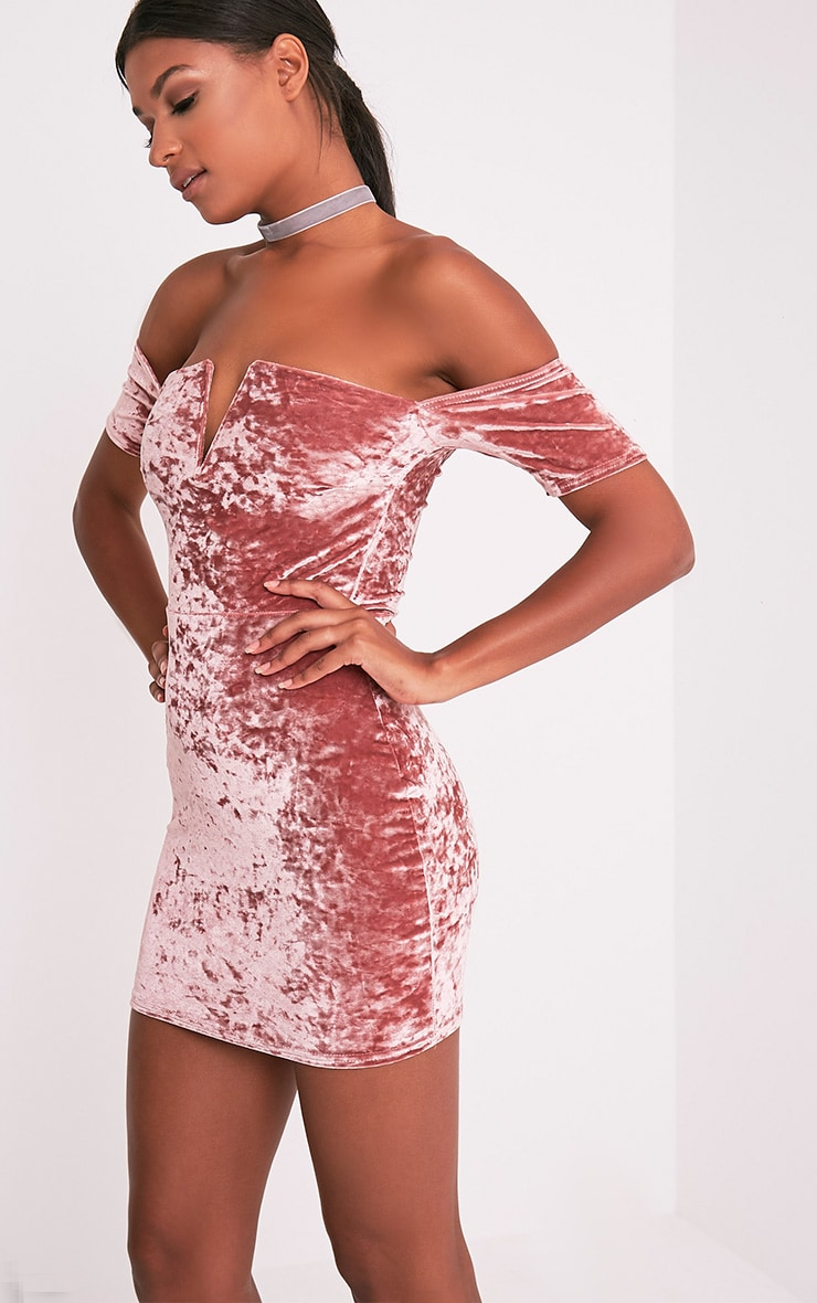 Cinda Dusty Pink Bardot Plunge Detail Velvet Mini Dress 4