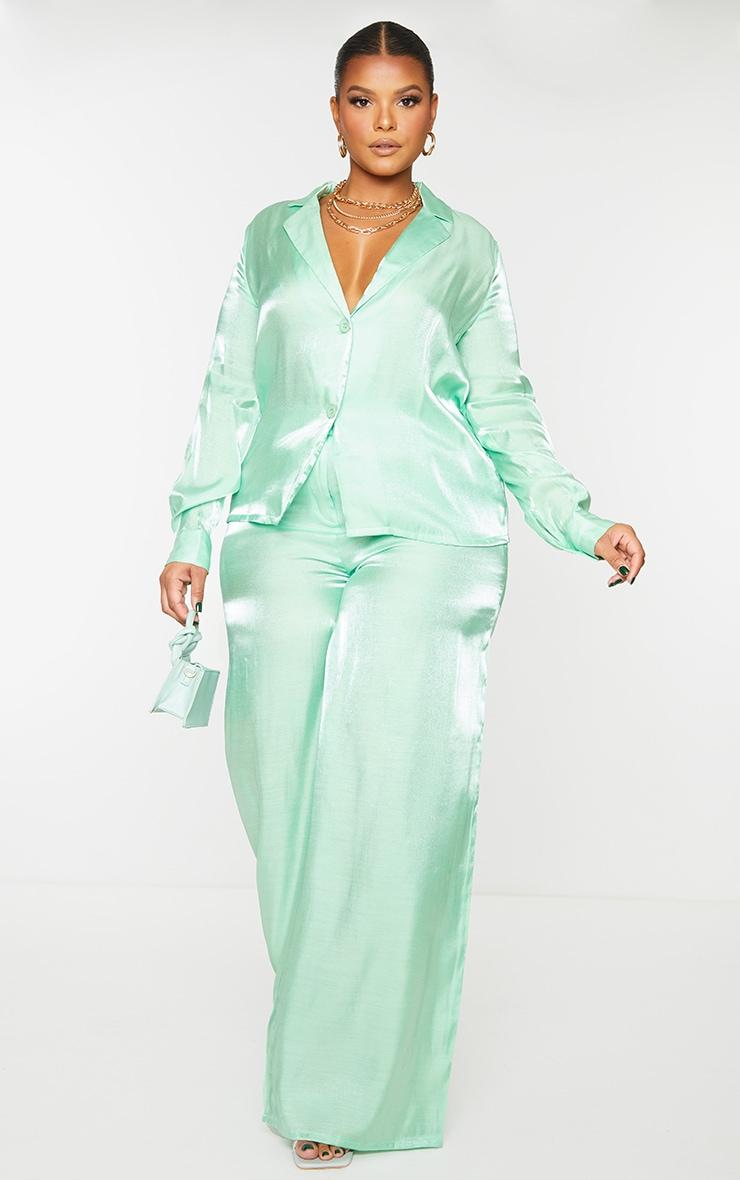 Plus Sage Green Metallic Oversized Shirt 3