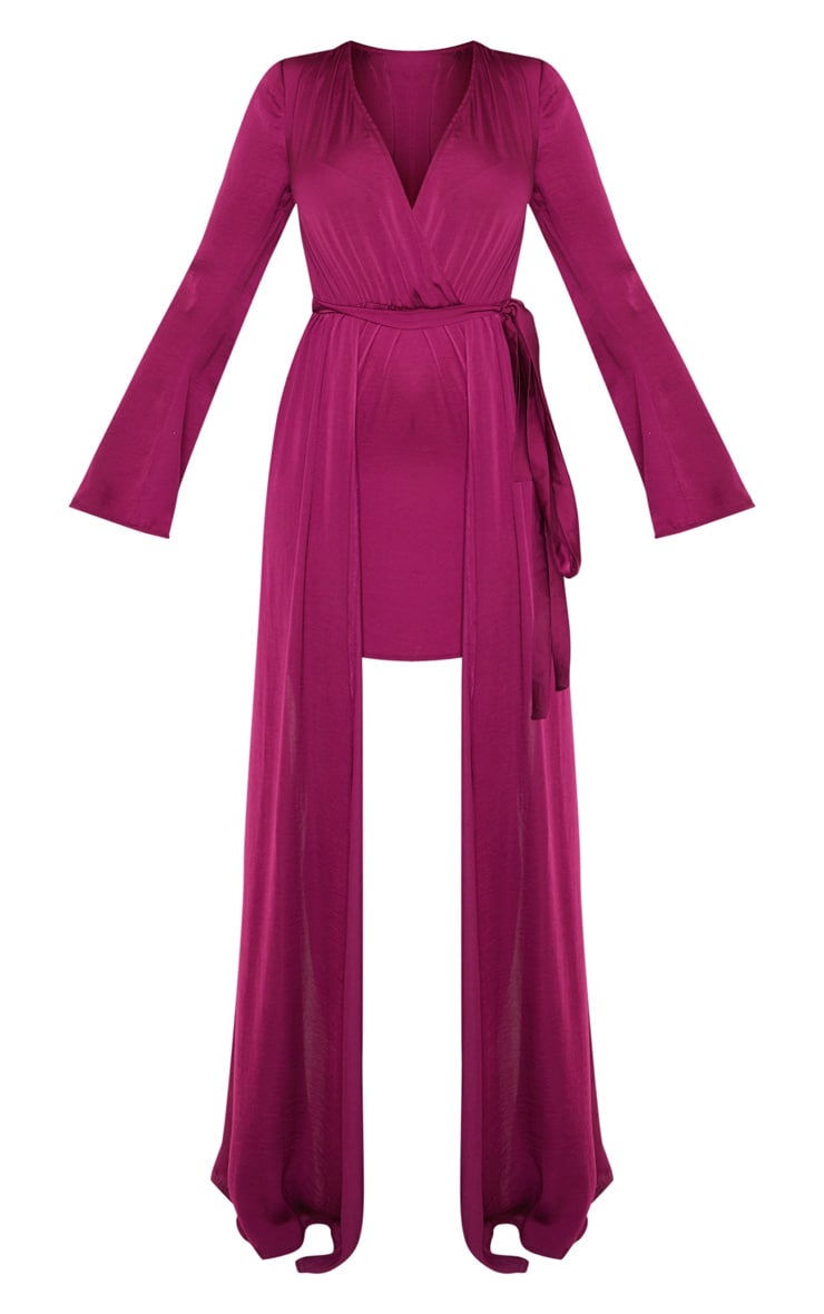 Berry Satin Plunge 2 in 1 Maxi Dress 3