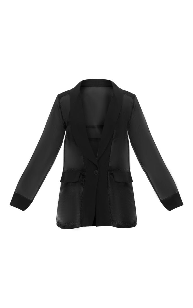 Black Organza Sheer Blazer 3