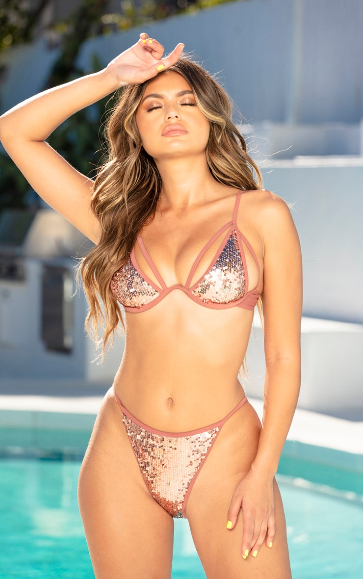 Gold Harness Sequin Underwired Bikini Top