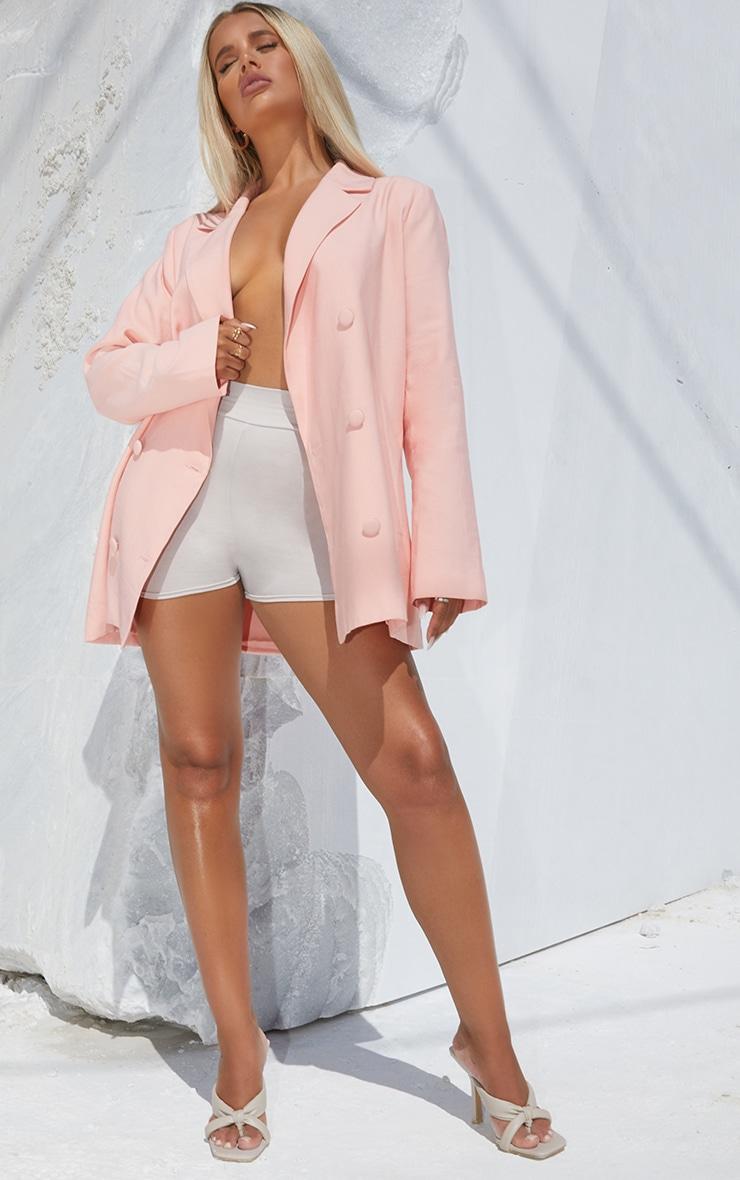 Light Peach Woven Triple Breasted Oversized Blazer 3