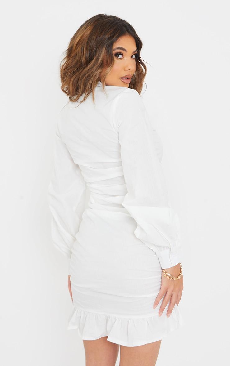White Long Sleeve Ruched Frill Hem Shirt Dress 2