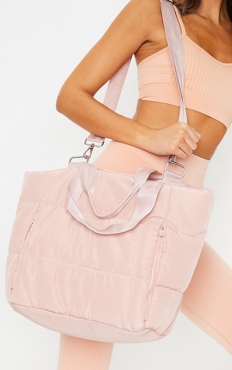 Pink Oversized Quilted Tote Bag 2