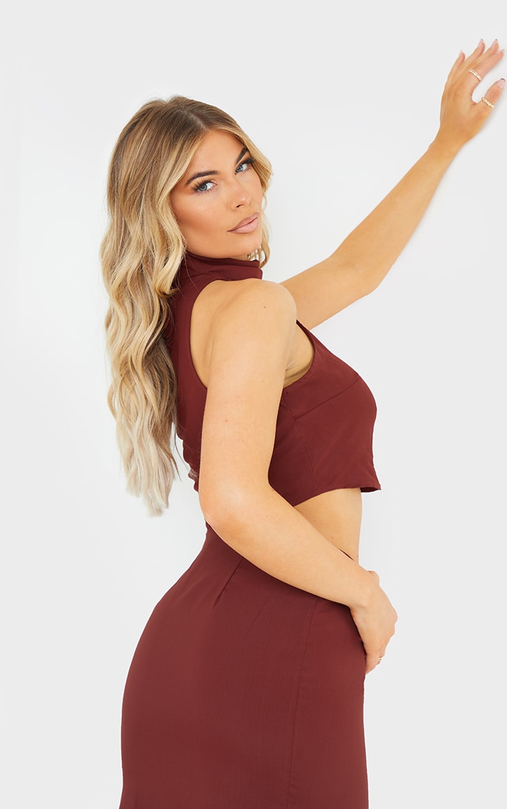 Chocolate Brown Woven High Neck Sleeveless Racer Crop Top 2