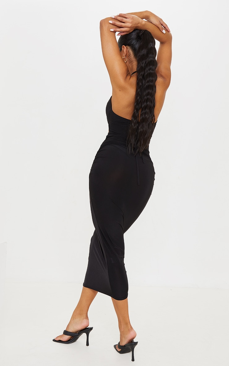 Black Slinky Halterneck Cut Out Strappy Detail Midaxi Dress 2