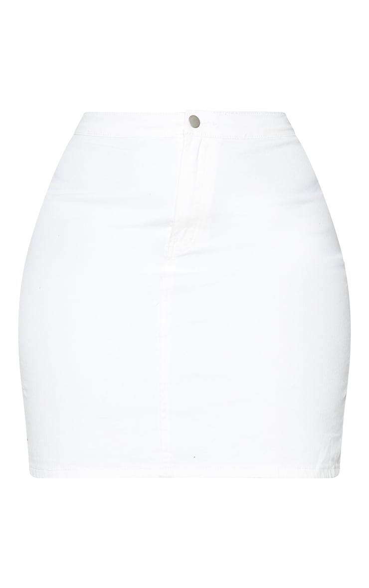 Plus White Disco Fit Denim Skirt 6