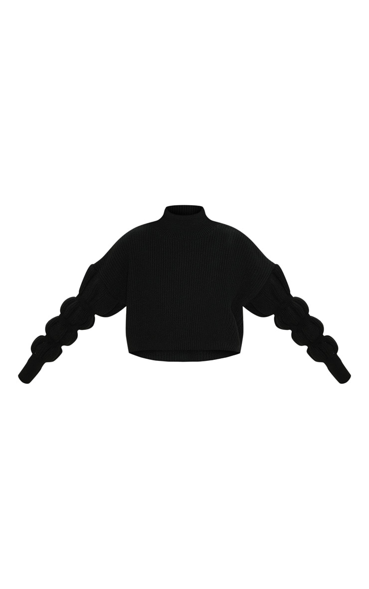 Black Bubble Sleeve Knitted Sweater  3