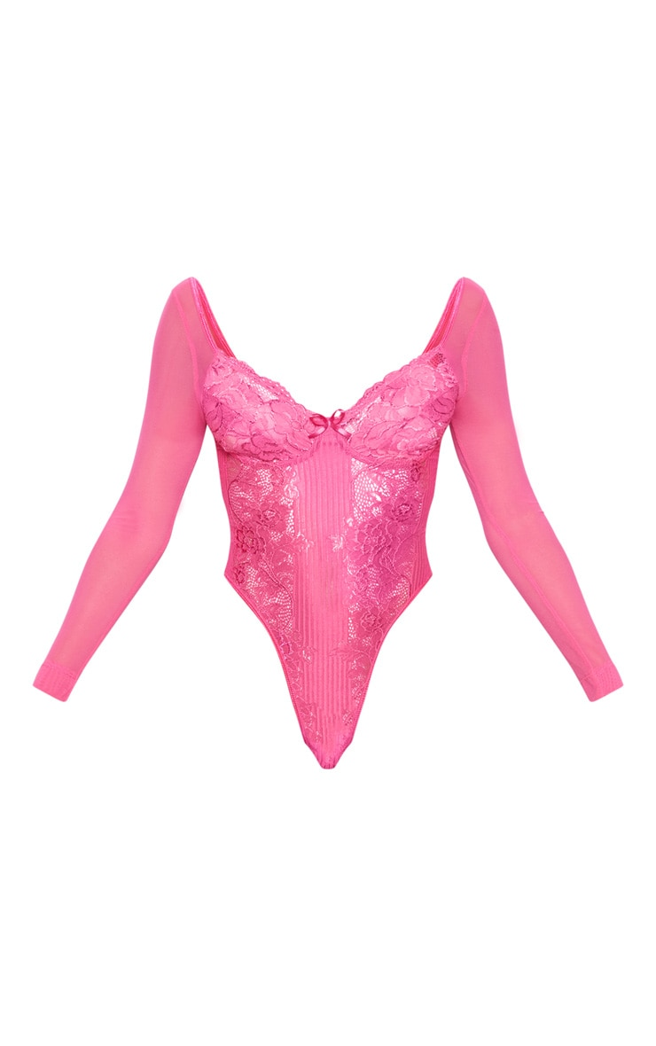 Hot Pink Longsleeve Lace Insert High Leg Cupped Body 3