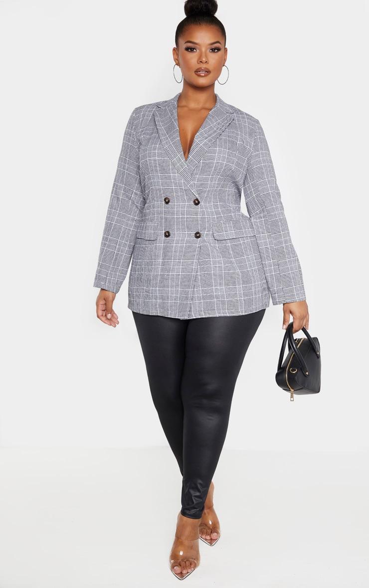 Plus Grey Check Tortoise Button Blazer 4