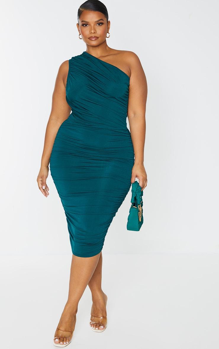 Plus Emerald Green Slinky Ruched One Shoulder Longline Midi Dress 1