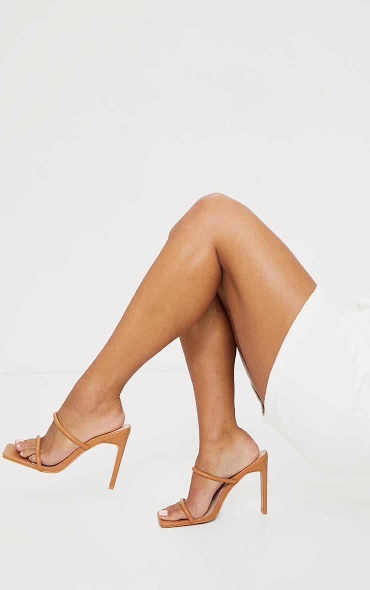 Tan PU Extreme Square Toe Twin Strap Mule High Heel 2
