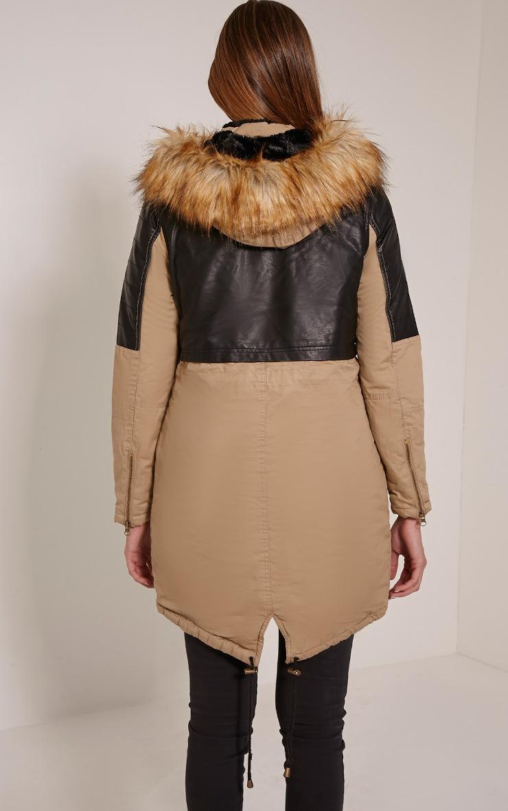 Elanor Camel PU Panel Fur Collar Parka Jacket 2