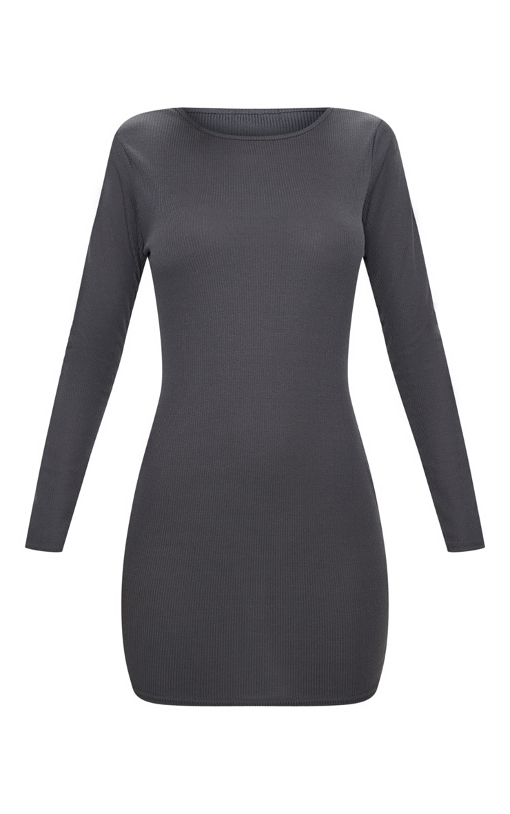 Basic Charcoal Grey Ribbed Long Sleeve Bodycon Dress 3