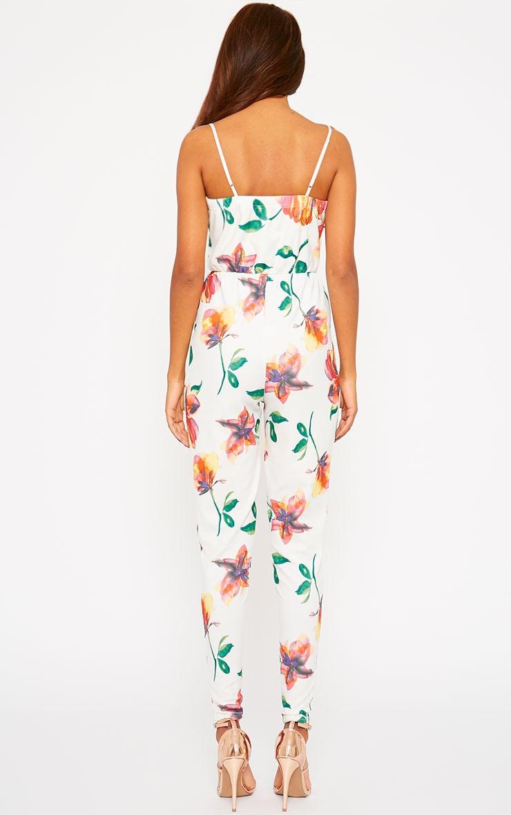 Santorina Cream Floral Jumpsuit 2